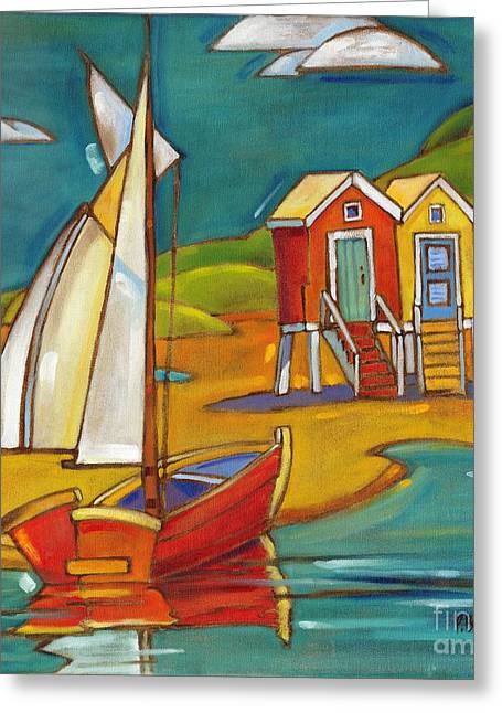 Recently Sold -  - Blue Sailboat Greeting Cards - Portofino Cabanas Greeting Card by Paul Brent