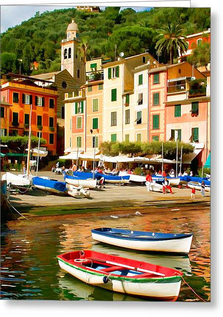 Portofino Italy Mixed Media Greeting Cards - Portofino Greeting Card by Cliff Wassmann