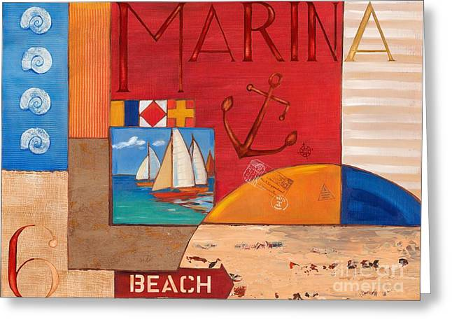 Docked Sailboat Greeting Cards - Portofino Collage II Greeting Card by Paul Brent