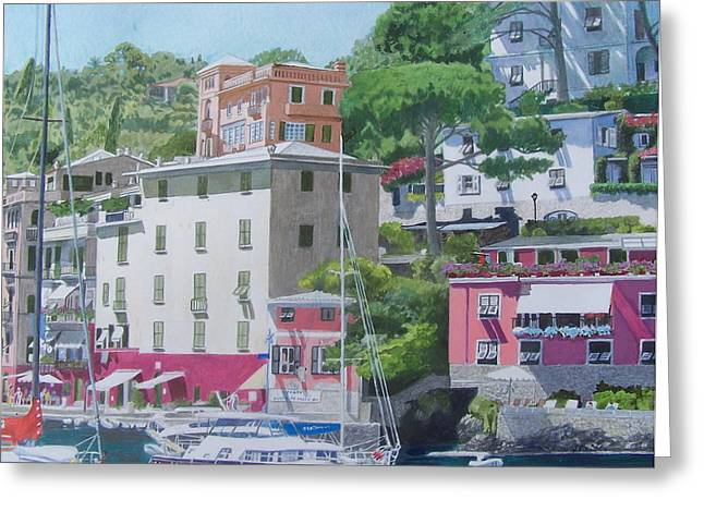 Portofino Italy Mixed Media Greeting Cards - Portofino Greeting Card by Constance Drescher