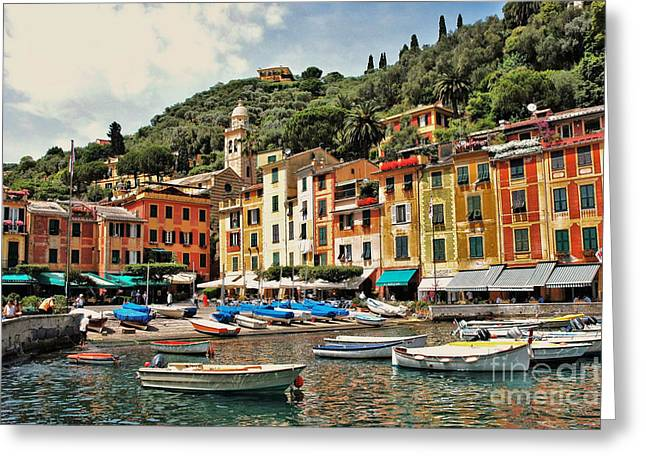 Seacape Greeting Cards - Portofino Harbor 2 Greeting Card by Allen Beatty