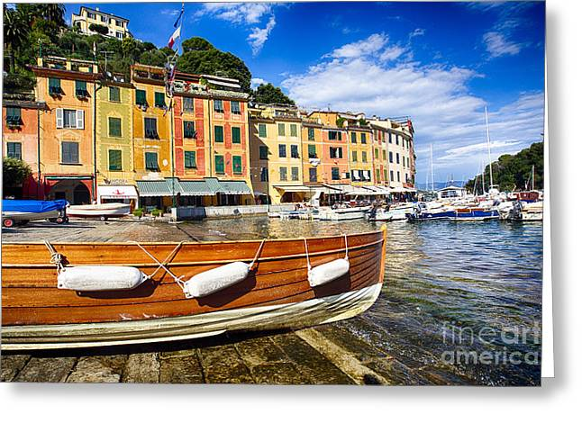 Portofino Italy Greeting Cards - Portofino Harbor Close Up Greeting Card by George Oze