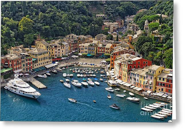 Portofino Italy Greeting Cards - Portofino Harbor from Above Greeting Card by George Oze