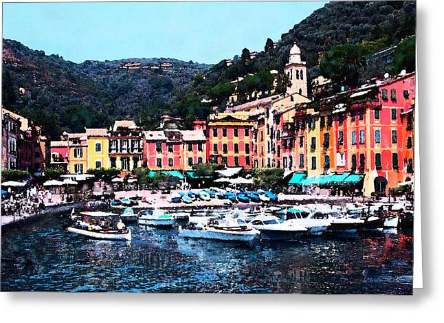Portofino Italy Digital Greeting Cards - Portofino Harbor Greeting Card by J Marielle