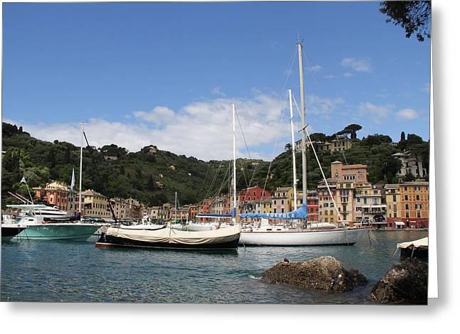 Portofino Italy Greeting Cards - Portofino Harbor Greeting Card by Nancy Ingersoll