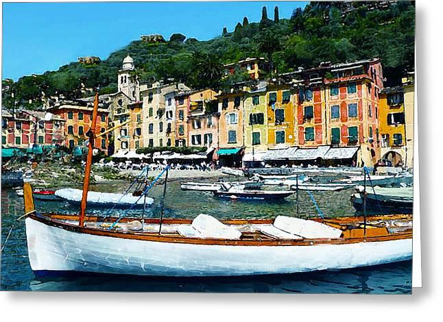 Portofino Italy Digital Greeting Cards - Portofino Harbor Scene Greeting Card by J Marielle