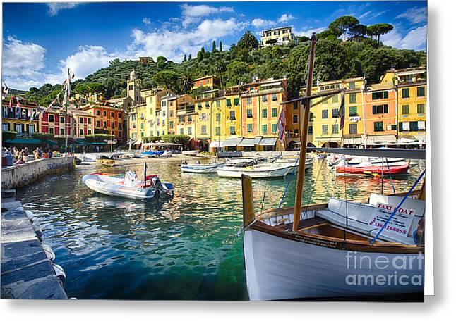 Portofino Italy Greeting Cards - Portofino Inner Harbor Greeting Card by George Oze