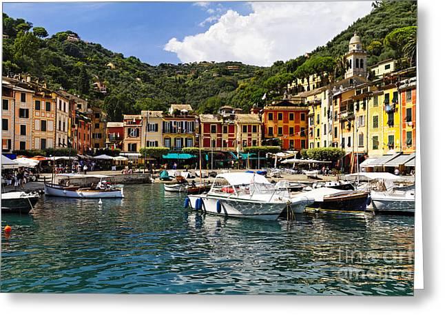 Portofino Italy Greeting Cards - Portofino Inner Harbor View Greeting Card by George Oze