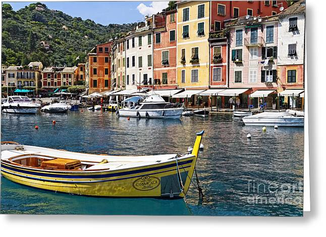 Portofino Italy Greeting Cards - Portofino Inner Harbor View with Small Boats Greeting Card by George Oze
