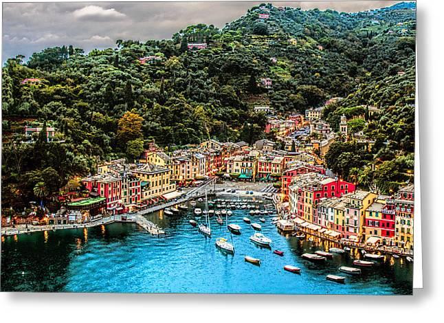 Portofino Italy Greeting Cards - Portofino Italy 40 x 40 1 of 3 Greeting Card by Paul James