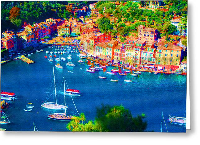 Portofino Italy Mixed Media Greeting Cards - Portofino Greeting Card by Michelle Dallocchio