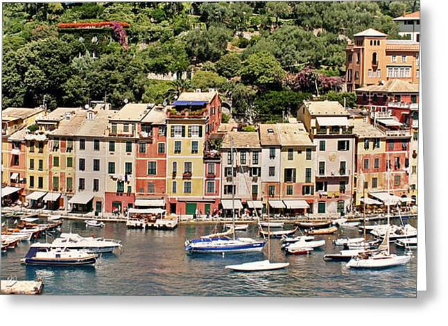 Portofino Italy Greeting Cards - Portofino Panorama Greeting Card by Kate McKenna