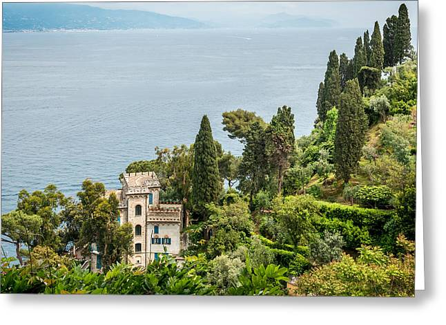 Portofino Italy Art Greeting Cards - Portofino Sea View Greeting Card by Ken Nelson