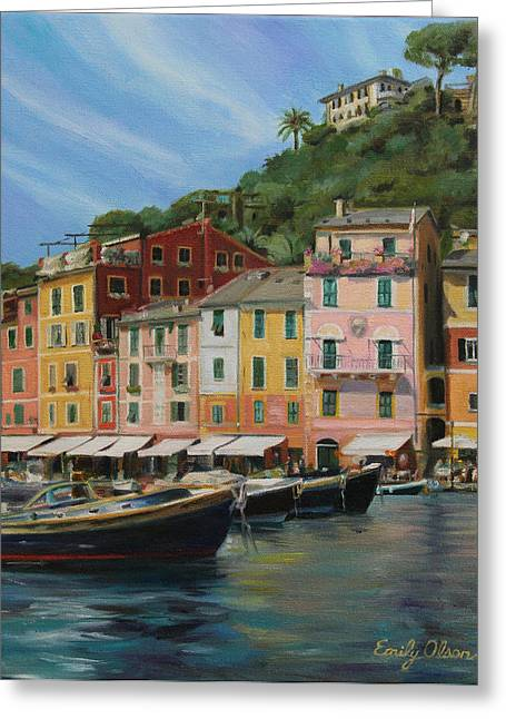 Portofino Summer Greeting Card by Emily Olson