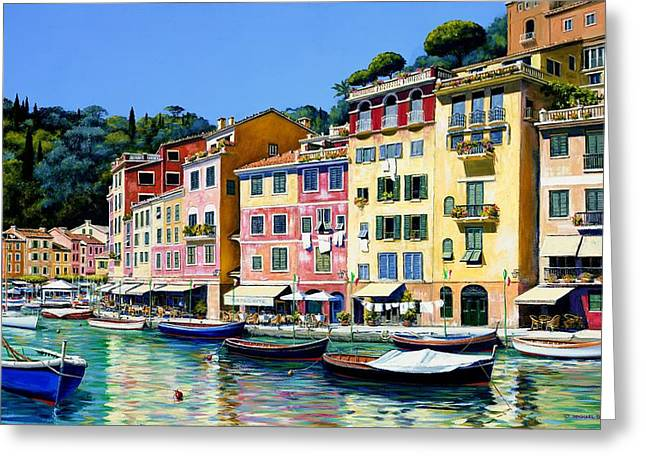 Artist Greeting Cards - Portofino Sunshine Greeting Card by Michael Swanson