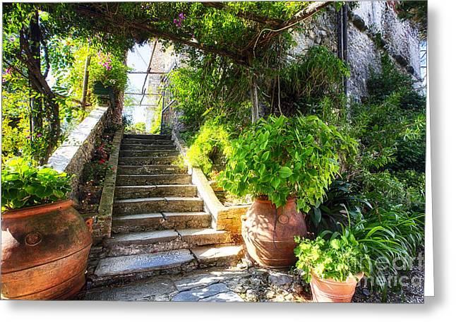 Portofino Italy Greeting Cards - Portofino Villa Garden Greeting Card by George Oze