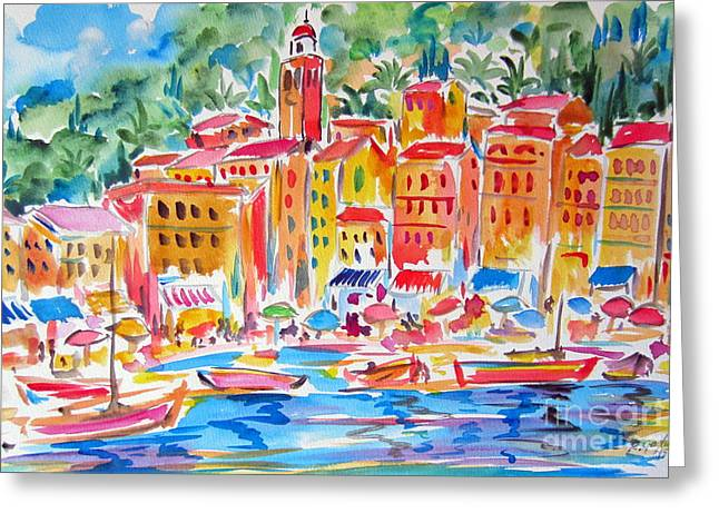 Portofino Italy Mixed Media Greeting Cards - Portofino Water Color Greeting Card by Roberto Gagliardi