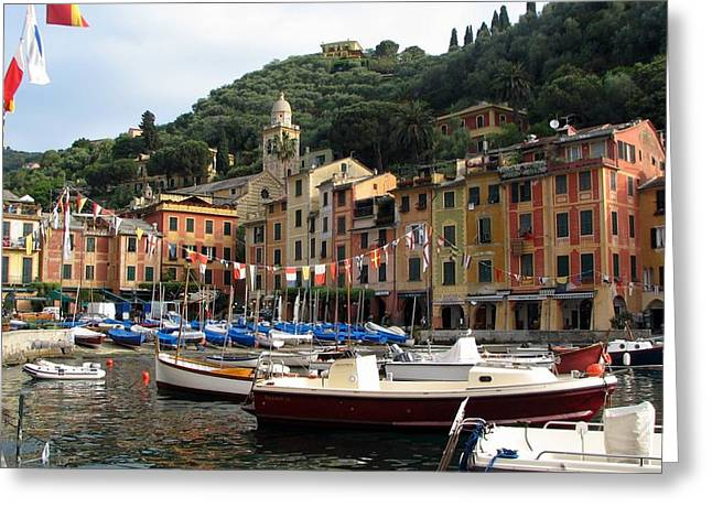 Portofino Italy Art Greeting Cards - Portofinos Colorful Harbor Greeting Card by Carla Parris