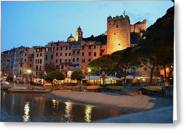 Beach At Night Greeting Cards - Portovenere at Night Greeting Card by Dany  Lison