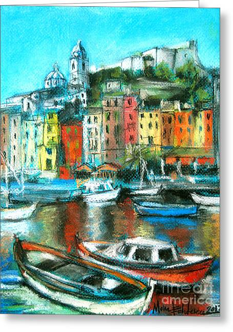 Red Buildings Pastels Greeting Cards - Portovenere Greeting Card by Mona Edulesco