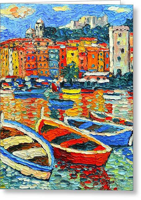 Impressionist Greeting Cards - Portovenere Harbor - Italy - Ligurian Riviera - Colorful Boats And Reflections Greeting Card by Ana Maria Edulescu
