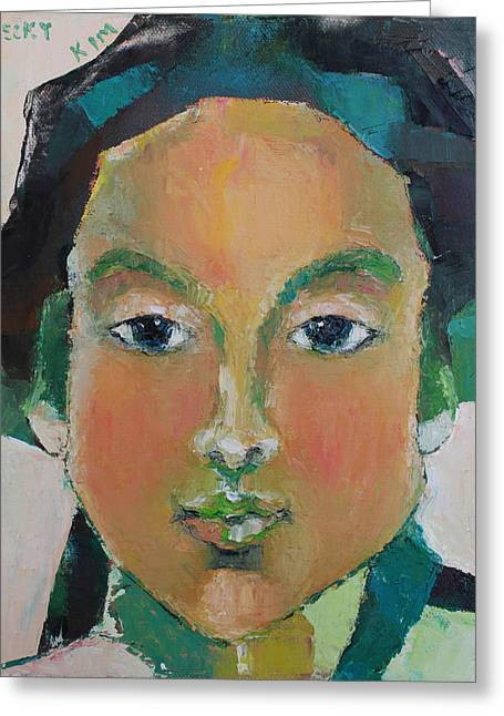 Portrait 102 Greeting Card by Becky Kim