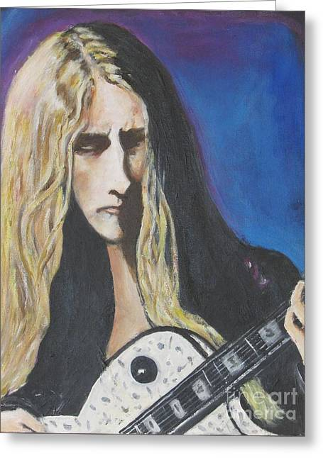 Wavy Hair Greeting Cards - Jerry Cantrell of Alice In Chains Greeting Card by Chaline Ouellet