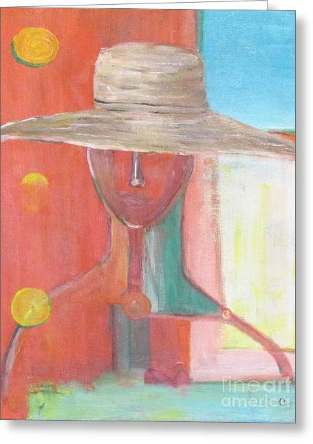 Portrait Avec Le Chapeau Greeting Card by Chaline Ouellet