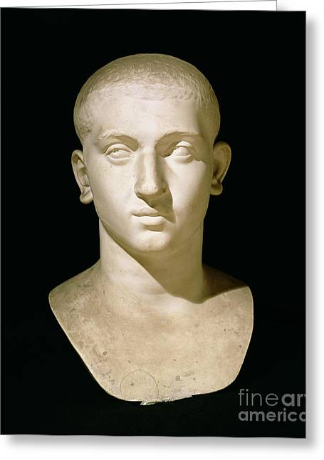 Sculptures Sculptures Greeting Cards - Portrait bust of Emperor Severus Alexander Greeting Card by Anonymous