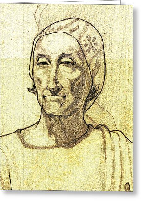Work Place Drawings Greeting Cards - Portrait drawing or a Parsi lady Greeting Card by Makarand Joshi