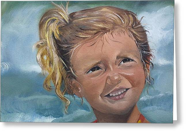 On The Beach Greeting Cards - Portrait - Emma - Beach Greeting Card by Jan Dappen