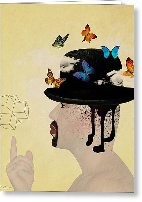 Caricature Mixed Media Greeting Cards - Portrait Hat Greeting Card by Mark Ashkenazi