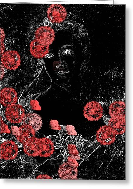 Black Canvas Greeting Cards - Portrait in Black - s0201b Greeting Card by Variance Collections
