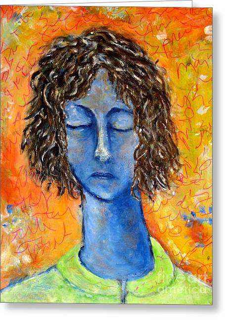 Yellow Sweater Greeting Cards - Portrait in Blue Greeting Card by Chaline Ouellet
