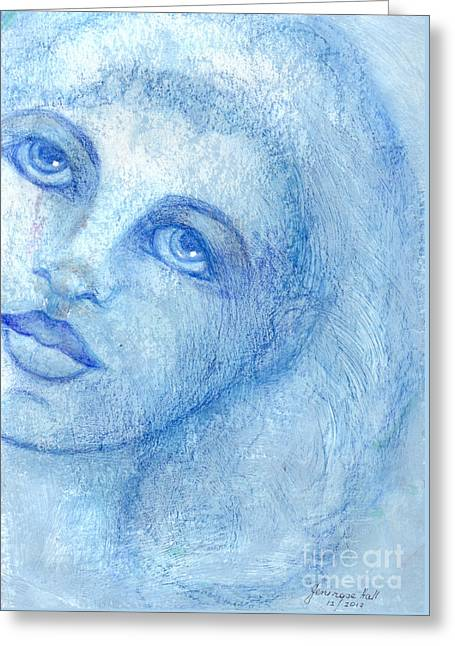 Coloured Greeting Cards - Portrait in Blue Greeting Card by Rosy Hall