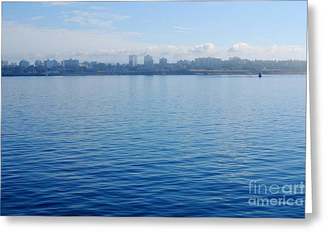 Ocean Vista Greeting Cards - Portrait in Blue. Skyline of Victoria 09.2012 Greeting Card by Connie Fox