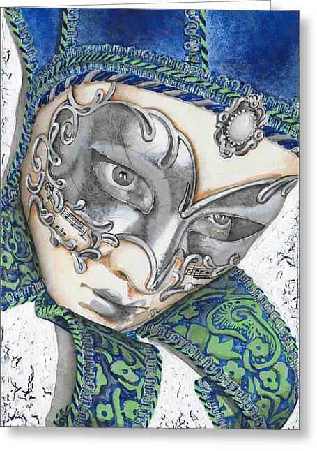 Mask Greeting Cards - Portrait In Blue Venetian Mask - Venice - Acryl - Elena Yakubovich Greeting Card by Elena Yakubovich