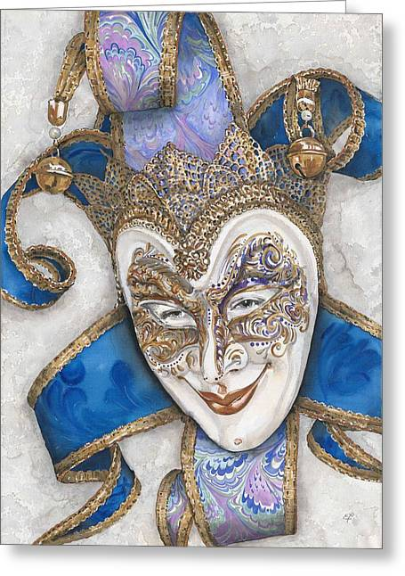 Cut-outs Drawings Greeting Cards - Portrait In Jester Mask - Venice - Acryl - Elena Yakubovich Greeting Card by Elena Yakubovich