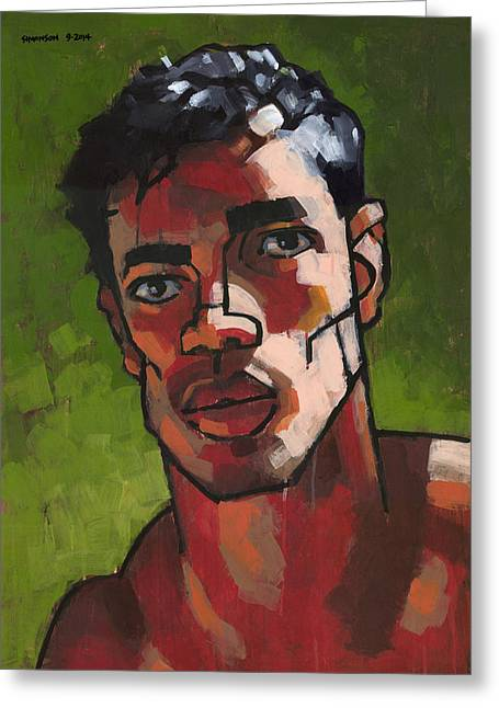 Expressionist Greeting Cards - Portrait in Late Afternoon Greeting Card by Douglas Simonson