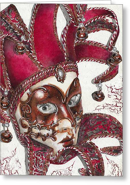 Mask Greeting Cards - Portrait In Mask - Venetian Red - Venice - Elena Yakubovich Greeting Card by Elena Yakubovich