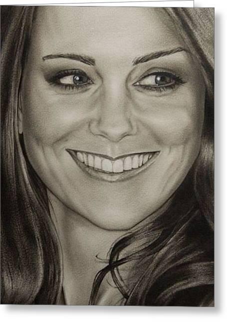 Kate Middleton Greeting Cards - Portrait Kate Middleton detail Greeting Card by Natalya Aliyeva