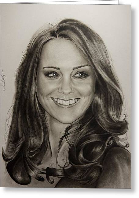 Kate Middleton Paintings Greeting Cards - Portrait Kate Middleton Greeting Card by Natalya Aliyeva
