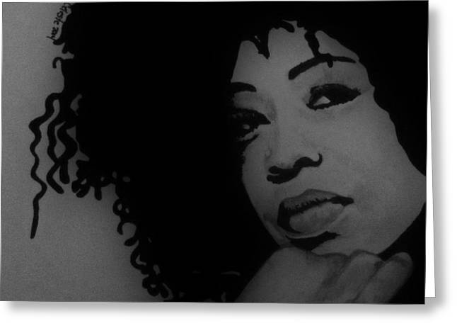 African-american Drawings Greeting Cards - Portrait Lisa Fischer Greeting Card by Karin Celeste