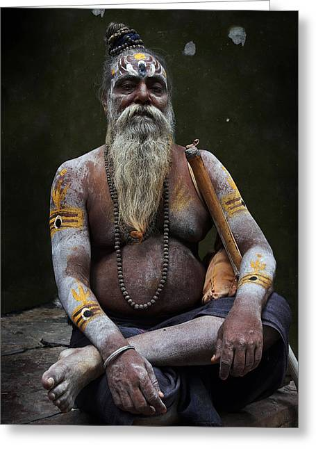 Accomplice Greeting Cards - Portrait o Sadhu III Greeting Card by Gilles Lougassi