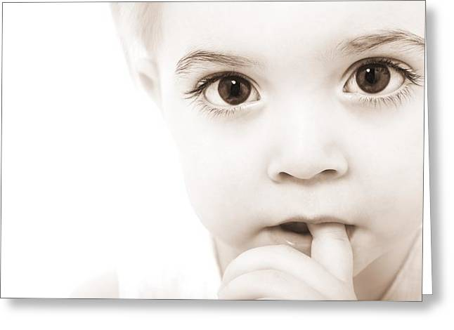 2-3 Years Greeting Cards - Portrait Of A Baby Greeting Card by Chris and Kate Knorr