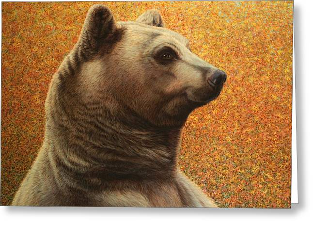 Portrait of a Bear Greeting Card by James W Johnson