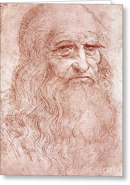 Known Greeting Cards - Portrait of a Bearded Man Greeting Card by Leonardo da Vinci