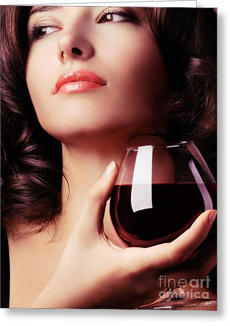 Degustation Greeting Cards - Portrait of a beautiful woman with glass of wine Greeting Card by Oleksiy Maksymenko