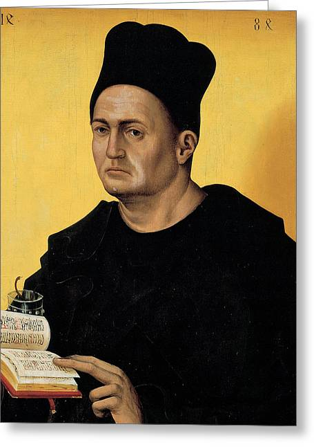 Attributes Greeting Cards - Portrait of a Benedictine Abbot Greeting Card by Italian School