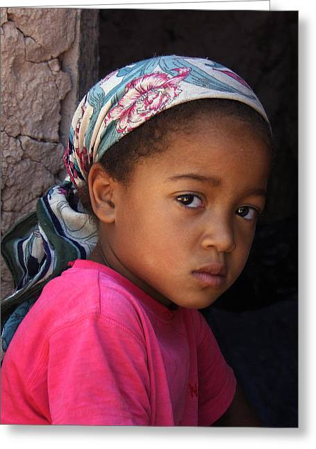 Portrait Of A Berber Girl Greeting Card by Ralph A  Ledergerber-Photography